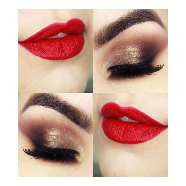 Hot Red Lips and Eye Makeup for Prom 2016 ❤ liked on Polyvore featuring beauty products, makeup and lip makeup