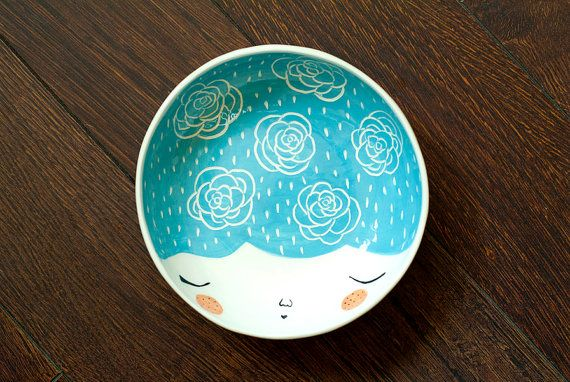 Ceramic serving bowl with character  face by MarinskiHandmades, $35.00