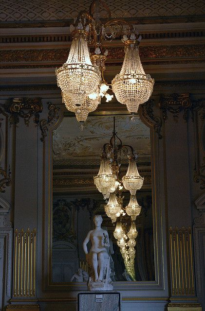 Musee D'Orsay, Paris ~ Reflection of chandelier in magnificent mirror
