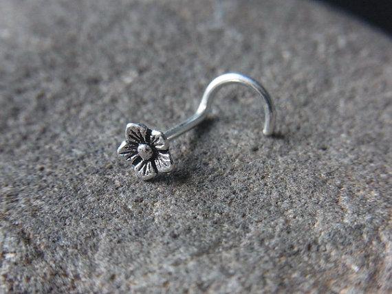 18gauge Oxidized flower nose screw by PiercingRoomByJay on Etsy
