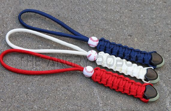 Set of 3 Red White Navy Paracord Lanyards with Glow Ends and Baseball  Beads -  Zipper Pulls