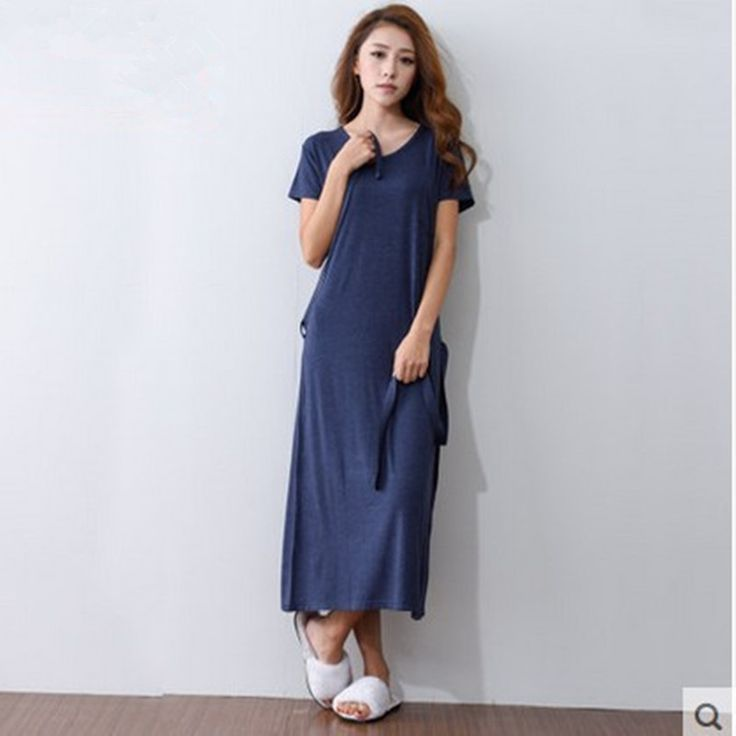 Long Nightgown Women Summer Solid Color V-neck Long Nightdress Cotton Short Sleeve Long Nightgowns Sleepshirts     Tag a friend who would love this!     FREE Shipping Worldwide     Get it here ---> http://oneclickmarket.co.uk/products/long-nightgown-women-summer-solid-color-v-neck-long-nightdress-cotton-short-sleeve-long-nightgowns-sleepshirts/