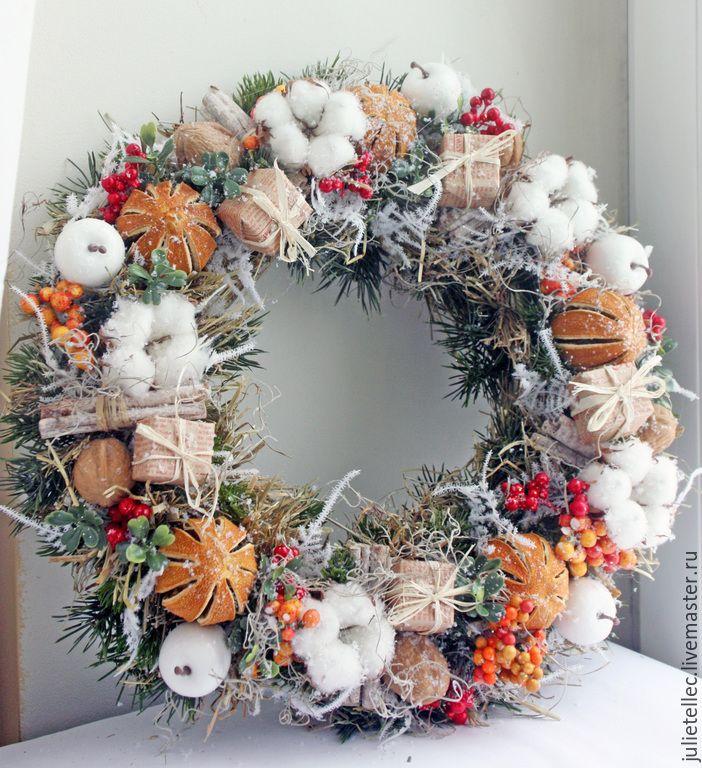 Купить Апельсиновый венок - оранжевый, апельсины, Новый Год, рождество, рождественский венок, венок на дверь