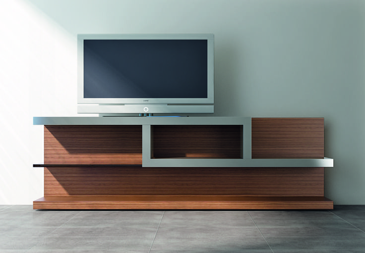 LIBER-O LINE, Model CA. #TVcabinet in black walnut #wood with #inoxsteel and #glass #shelves. Ronda Design.