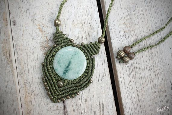 This amazing, unusual piece of Jade was sourced in the volcanic highlands of Guatemala, held tightly in place by a funky South American macrame design. Your stone measures approximately 3cm in diameter. **All my work is made using Linhasita, a beautiful Brazilian macrame waxed cord. The cord is extremely comfortable, durable and the colour will not fade, this piece will last you a life time.** ************************** Learn about your stone: Jade is a special stone that is believed to…
