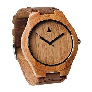 Treehut Mens Wooden Bamboo Watch with Genuine Brown Leather Strap Quartz Analog with Quality Miyota Movement, 1.7 inches (aff)