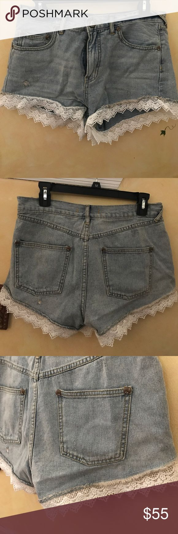 Free people Light Denim High-Waisted Shorts These light Denim free people high waisted Denim shorts have stunning lace detailing that adds an extra flair to Denim shorts. Love these shorts with boots in the fall, sandals in the summer and even fun chunky nude heels!! MUST have shorts that fit like a glove ! Free People Shorts Jean Shorts