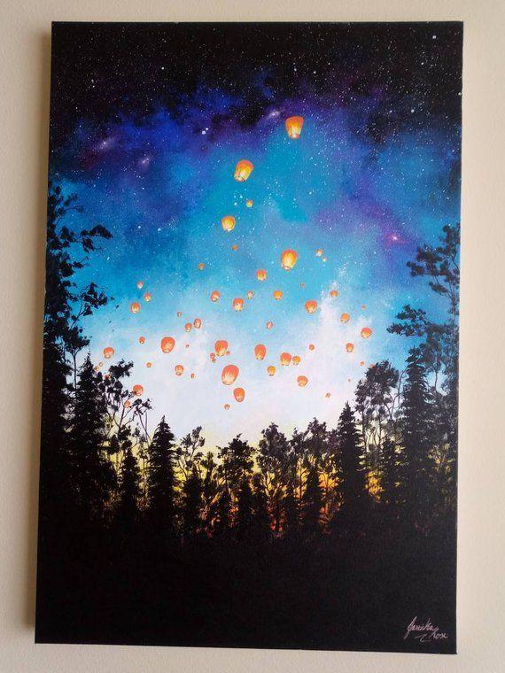 Paper Lanterns 24 36 Large Acrylic Painting On Canvas Acrylic