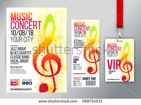 Set of templates with poster or leaflet, ticket and VIP. Treble clef illustration with brush strokes and bright colors. Texture watercolor effect. Vector.
