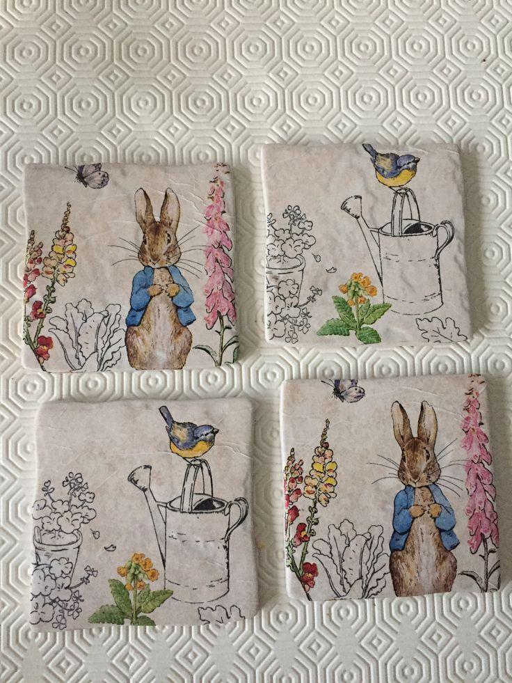Peter Rabbit Tile coasters by Peppershells Vintage