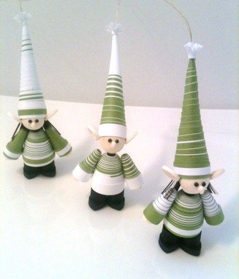 Elf Christmas Ornament Paper Quilled Set in by WintergreenDesign