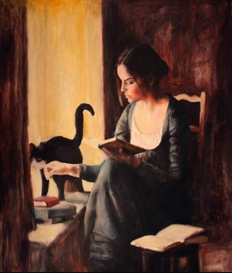 Escha van den Bogerd (b. 1972) - Lady with cat reading at the window