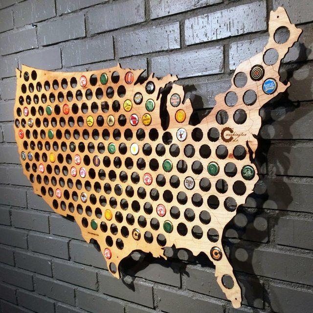 USA Beer Cap Map - $50