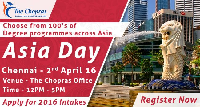 Avail Free #Visa Counseling & #scholarship information in #AsiaDay #EducationFair at #TheChopras' #Chennai Branch on 2nd April! Checkout Details http://goo.gl/lzPfY3  #studyabraoad  #studyinsingapore  #asiaday