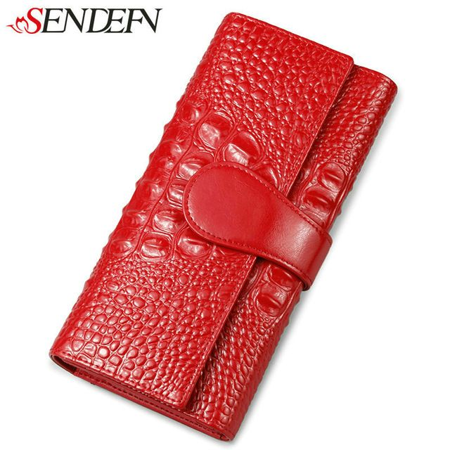 Promotion price SENDEFN Luxury Women's Purse Split Leather Wallet Women Clutch Purse Alligator Credit Card Holder Long Female Wallets For Money just only $55.02 with free shipping worldwide  #womanwallets Plese click on picture to see our special price for you