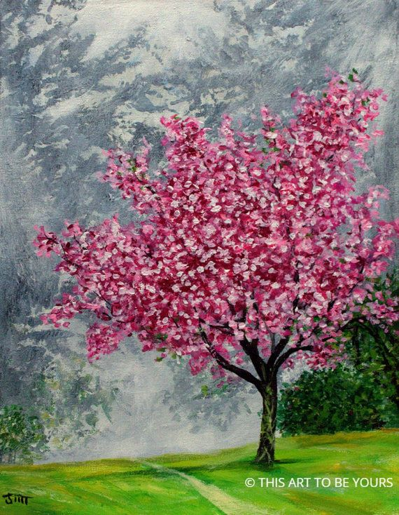 CHERRY BLOSSOM TREE  original acrylic painting by ThisArtToBeYours