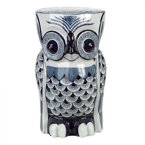 Stool Owl Flower Blue   Pols Potten
