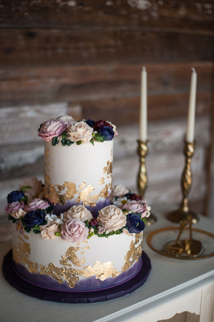 Purple Wedding Cake Gold Leaf Buttercream Roses Vintage Modern Creme de la Creme Cake Company Nine Photography Events by Jade Mopac Event Center- venue Event Paperie- paper products Beautiful Event Rental Vella Nest- Florist