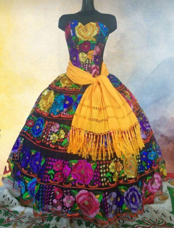 Elegant Colorful Mexican Dress Custom Made Corset Dress