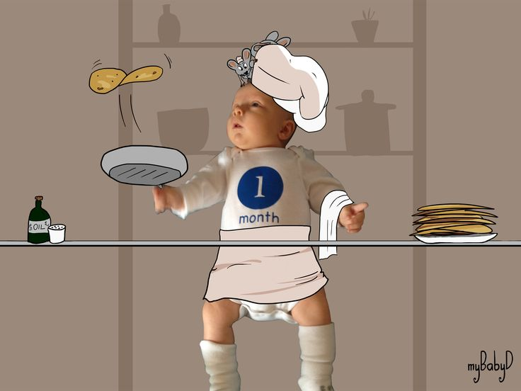 1. One month baby chef of a series of 3 #niceidea #personalizedgift