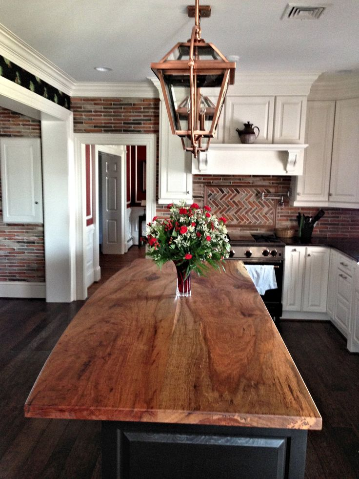 DeVos Custom Woodworking - Spalted Pecan Wood Countertop Photo Gallery - Maybe for the raised bar?