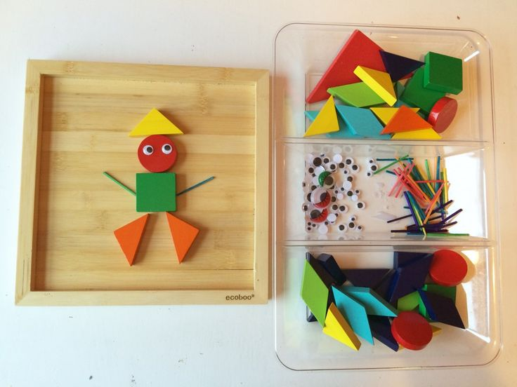 Invitation to play with shapes, fun learning activity and creative play set up using loose parts.