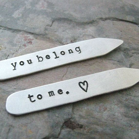 Personalized Collar Stays Aluminum mens accessories by riskybeads (Accessories, Suit & Tie Accessories, Cuff Links & Tie Clips, Collar Stays, personalized stays, collar stays, custom collar stays, aluminum collar, you belong to me, bdsm jewelry, fetish, kink accessories, mens accessories, secret message, gifts for him, gifts under 20, husband gift)