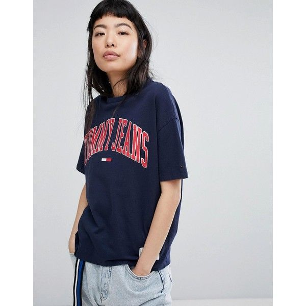 Tommy Jeans Collegiate Logo T-Shirt ($54) ❤ liked on Polyvore featuring tops, t-shirts, navy, crew neck t shirt, embroidered t shirts, embroidery t shirts, tommy hilfiger t shirt and crop t shirt