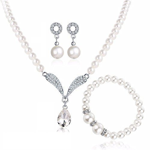 White Horse New Pearl Jewellry Set Necklace Earrings Bracelet Trendy Gift Latest Collection Unique Romantic Bohemia Wedding Engagement--32.65