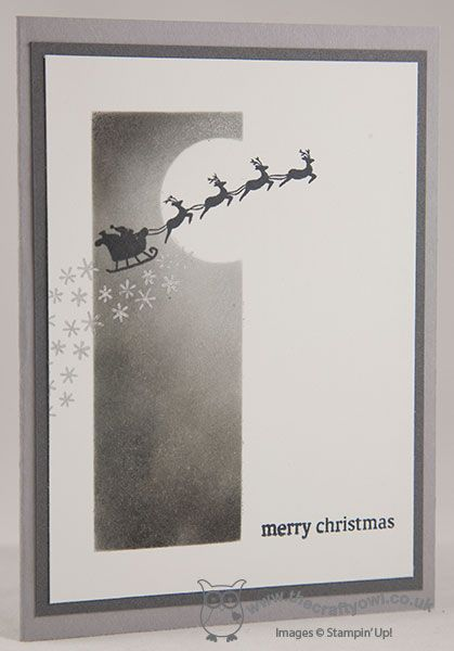The Crafty Owl's Blog | Year End Closeouts and Santa's Sleigh! Holiday Home - santa crossing the night sky. Joanne James Stampin' Up! UK Independent Demonstrator, blog.thecraftyowl.co.uk