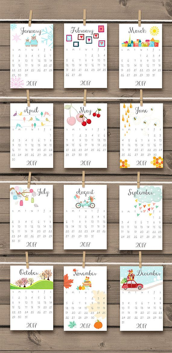 ♥ A cheerful printable calendar for 2017, full with hand drawn illustrations to make you smile every day :-) Also great as a gift!  You will receive READY-TO-PRINT DIGITAL files that you can print at home or in any local or online print shop!  This listing is for an INSTANT DOWNLOAD item.  -------------------------------------------------------- HOW DO I ORDER? --------------------------------------------------------  ♥ All you have to do is purchase this listing ♥ Once payment is confirmed…