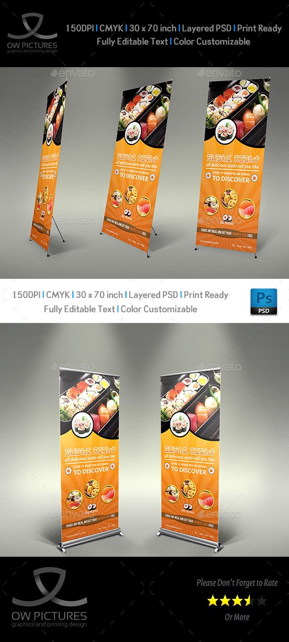 Sushi Restaurant Rollup Signage Banner Template #design Download: http://graphicriver.net/item/sushi-restaurant-rollup-signage-banner-template/12119039?ref=ksioks