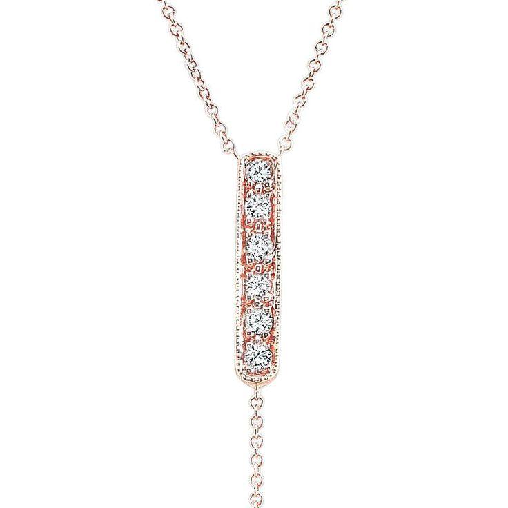 CARRIE handmade lariat in 14K rose gold , Italian gold chains & white diamonds
