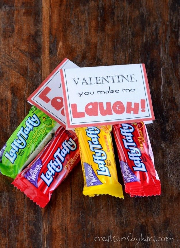 "Great idea!  ""For my funny Valentine"" would be cute too.  Try using Avery Toppers and Bags (22801).  You just put your treats in the include cellophane bag, personalize and print your toppers with free customizable templates,  peel and stick. No glue or scissors needed."
