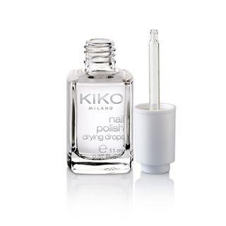 6,90 € gotas secantes de verniz da KIKO. Nail Polish Drying Drops permite uma secagem rápida do verniz e melhora a sua duração.