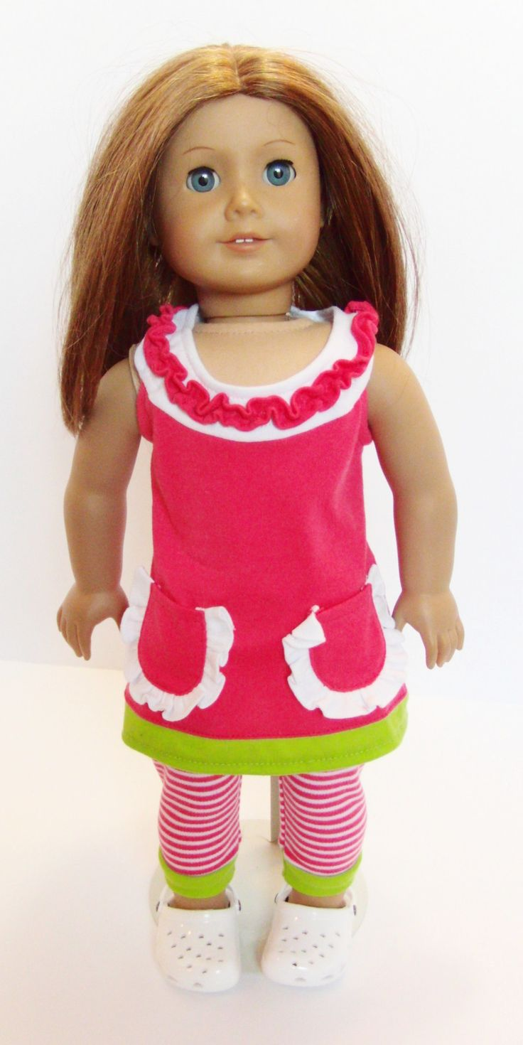Pink Ruffle Dress & Striped Leggings Outfit - clothes for American Girl® and other 18 inch dolls, white crocs