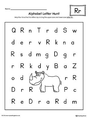 Alphabet Letter Hunt: Letter R Worksheet. The Letter R Alphabet Letter Hunt is a fun activity that helps students practice recognizing the uppercase and lowercase letter R.
