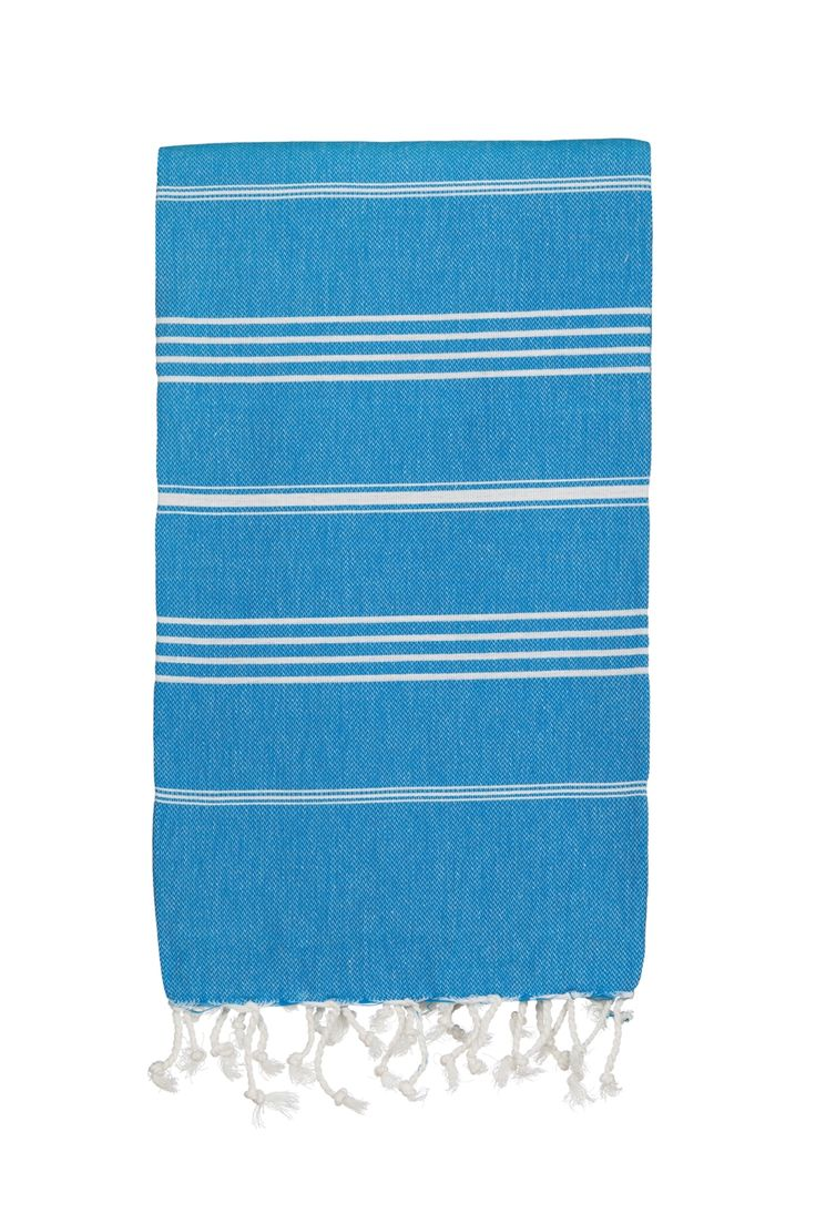 Everyone should own one of these cotton beach towels. Wonderful striped towels available in a rainbow of colours. Perfect holiday and travel towels that double as a beach wrap and sarong. Hammamas also make great bath towels for kids. Hammamas are super absorbent, lightweight, fast drying, simply life changing.  Made from pure cotton. Hammamas Original measures 180cm by 100cm