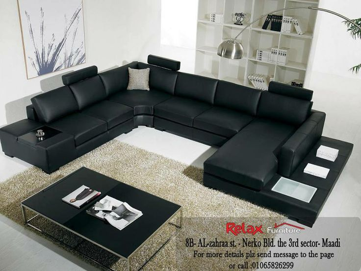 Comfy Modern Suitable Living Room Design Idea With Black Leather Covering C  Shaped Comfortable Sofa Set And Brown Shag Rug Area And Black ...