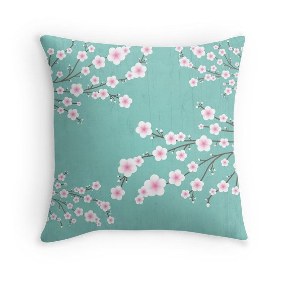 Blue Sakura Cherry Blossom Pillow. Cushion. Nursery Pillow Case. Pillow Cover. 40 cm. 45 cm. 50 cm.