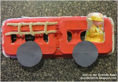 Firetruck from an egg carton craft....Letter F activities. | www.dowdeyfamily.blogspot.com