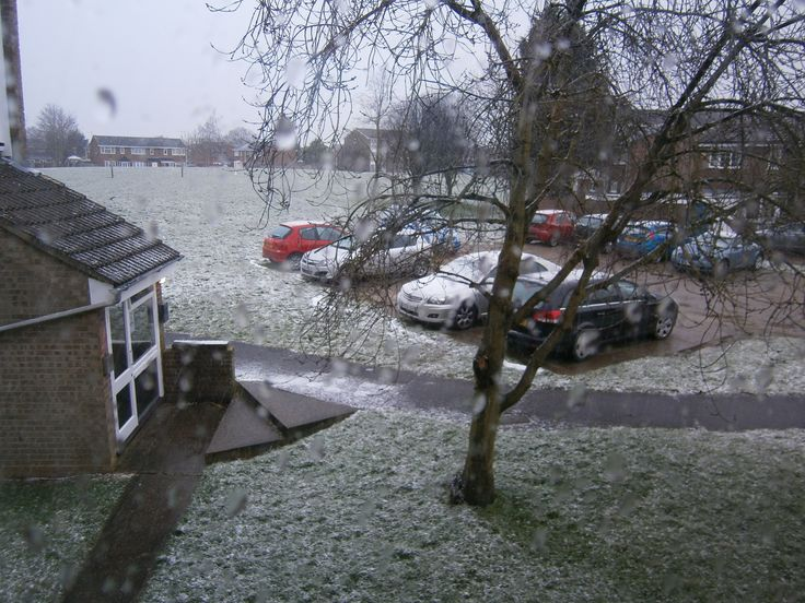 snowing from my lounge window, which then turned to rain !!