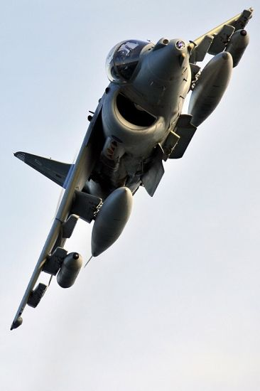A Naval Strike Wing Harrier 'buzzes the tower' on an exercise.