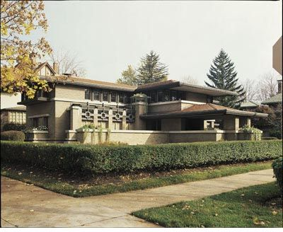 The Meyer May House, Grand Rapids, Michigan, 1908 - Along with the design of the home of Meyer May, a cutting-edge haberdasher, Wright designed furniture, rugs, stained glass, lighting fixtures and textiles. It stands today as one of the finest examples of all those elements harmoniously combined.