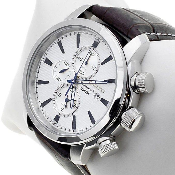 Montre Homme Seiko SNAF51P1, boîtier acier et bracelet en cuir marron, cadran blanc, fonction chronographe et date.