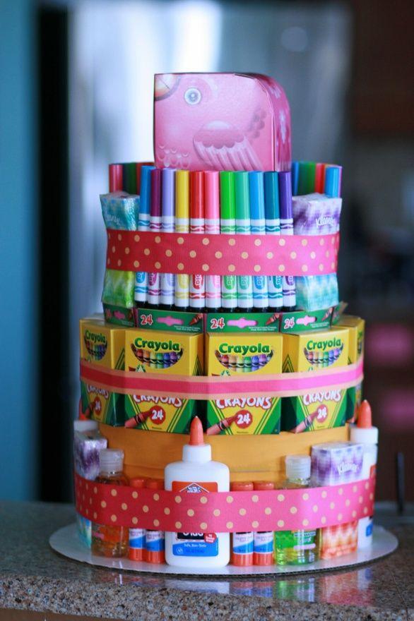 Teacher Appreciation School Supply Cake.  ~I am *SO* doing this for the girls' teacher!!