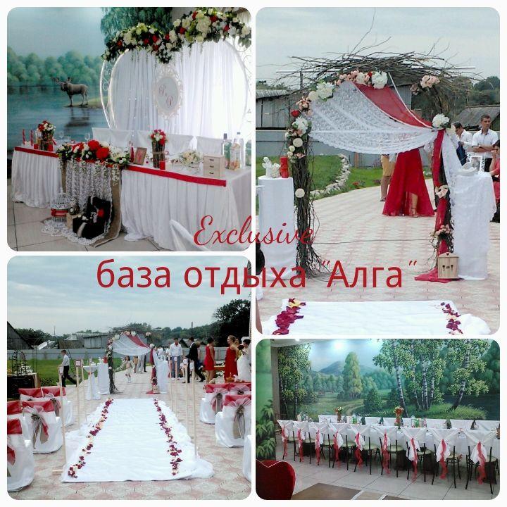 Свадебное оформление в стиле рустик и красных тонах