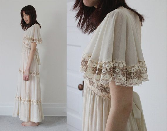 51c9e1874003 Vintage 70s BOHEMIAN Hippie Natural Off-White Floral Crochet LACE Butterfly  Sleeve Tiered Sash Belt Maxi Dress / Wedding or Formal - S Small | Love |  Maxi ...