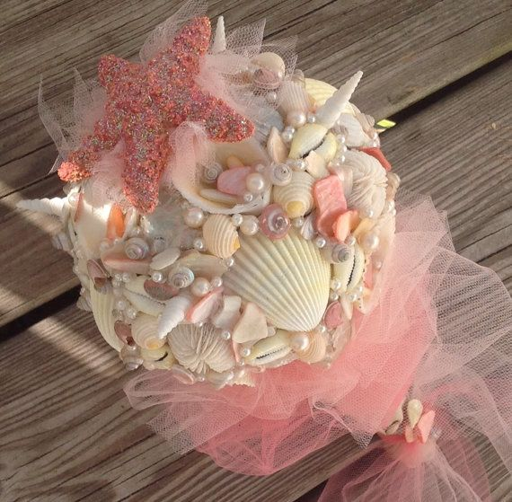 Sea Shell Bouquet Beach Wedding Starfish By BeachBasketBride