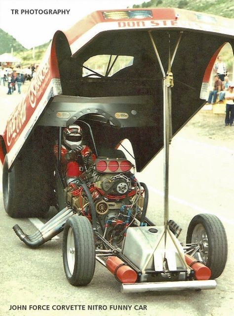 """THE COCA COLA / JOLLY RANCHER CANDIES / WENDY'S HAMBURGERS SPONSORED CORVETTE NITRO FUNNY CAR OF JOHN """"BRUTE"""" FORCE. AUSTIN COIL WAS HIS CREW CHIEF."""